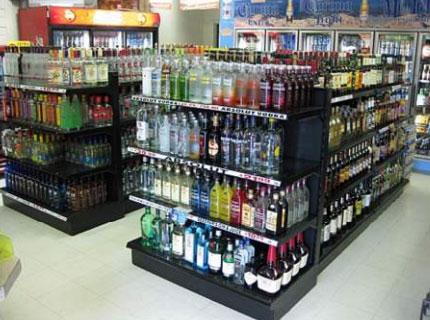 Gondola-end-unit liqueur shelves