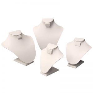 white jewelry display busts set