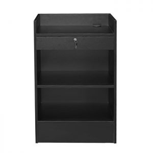 Well top register stand with adjustable rear storage shelf and easy roll drawer. Assemble required Shipping price may very depending on variables. Please request a quote to contact us on price and freight shipping.